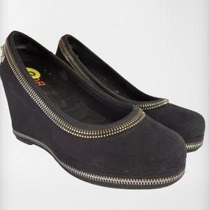 Michael Kors Girl's Black Sherry Heeled Wedges
